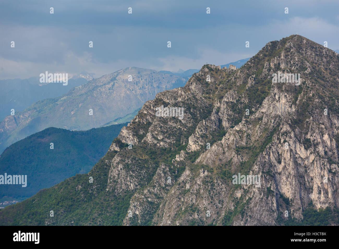 The Dolomite mountains at Lake Iseo, Italy - Stock Image