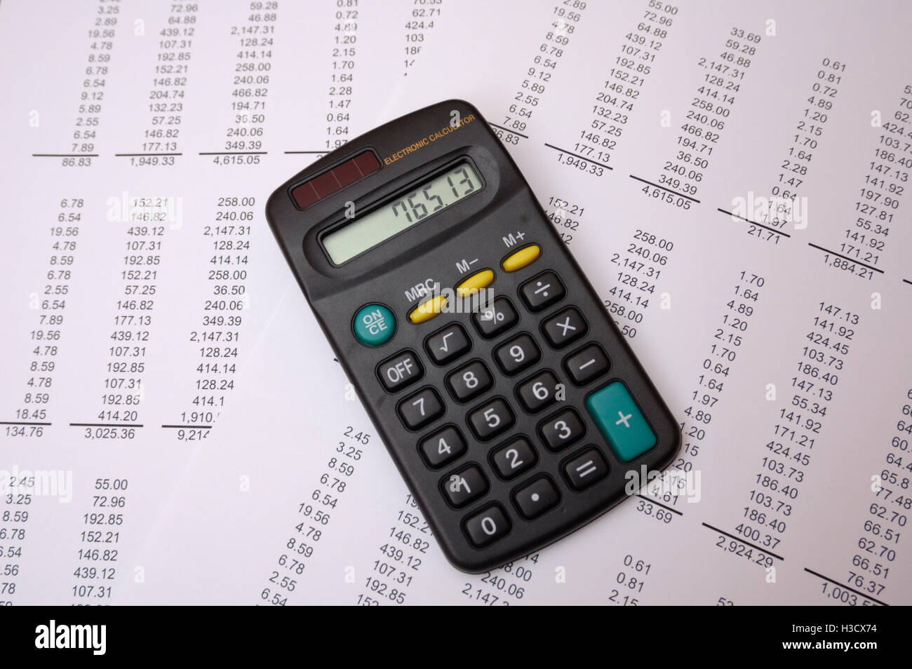 Calculator on Table of Figures Stock Photo