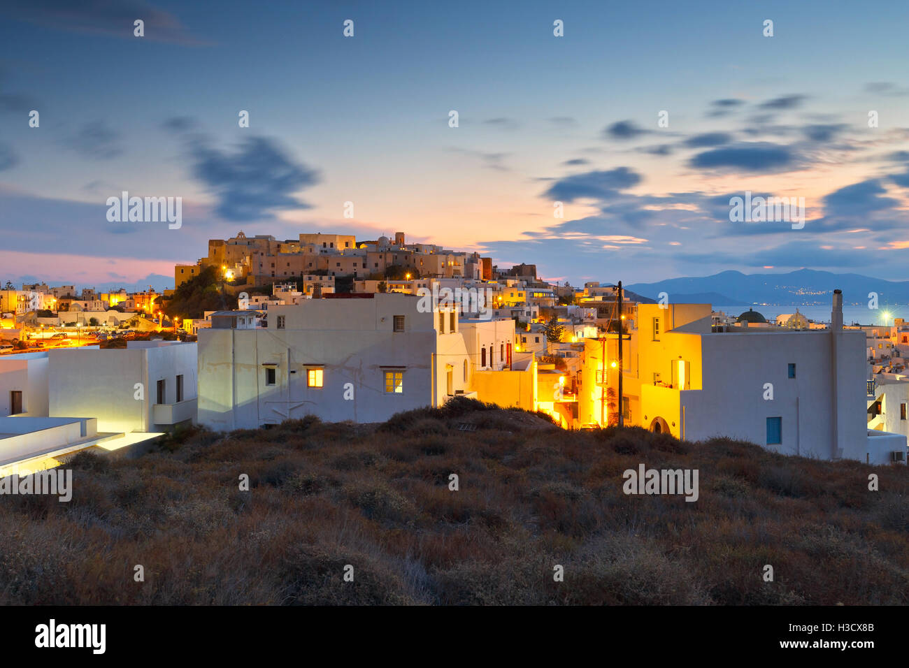View of the castle in town of Naxos. - Stock Image