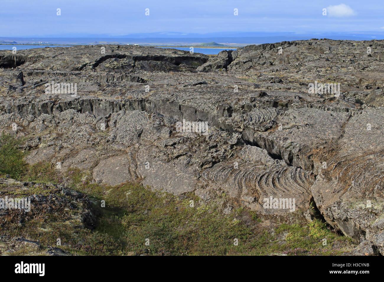 Lava field Reykjahlíð Mývatn Iceland - Stock Image