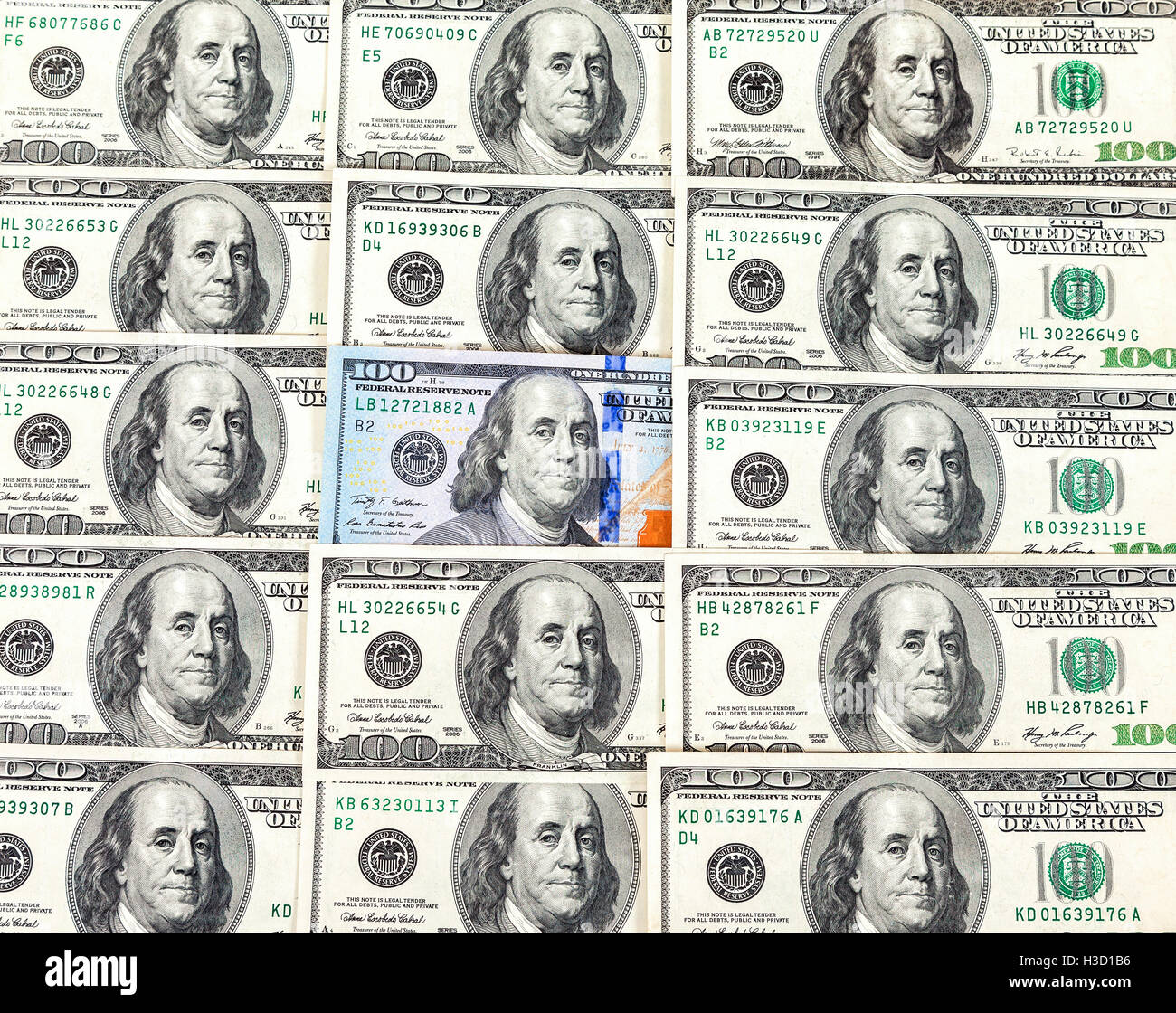 Hundred cash dollars banknote closeup, money background, paper currency - Stock Image