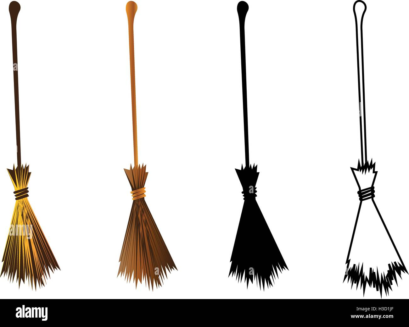 halloween witches broomstick witches broom illustration stock image