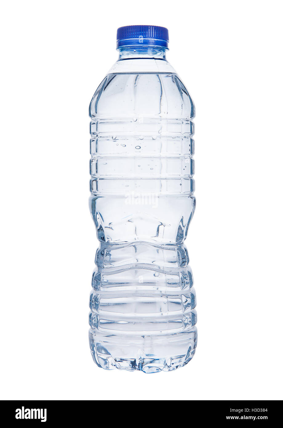 Plastic still mineral water bottle on white  background - Stock Image