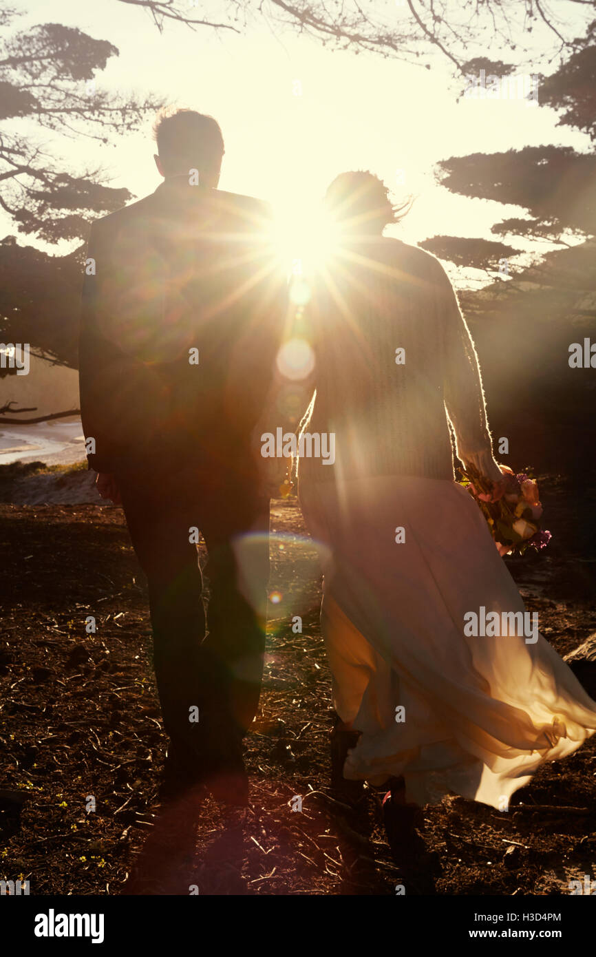 Rear view of newly wed couple walking on field on sunny day - Stock Image