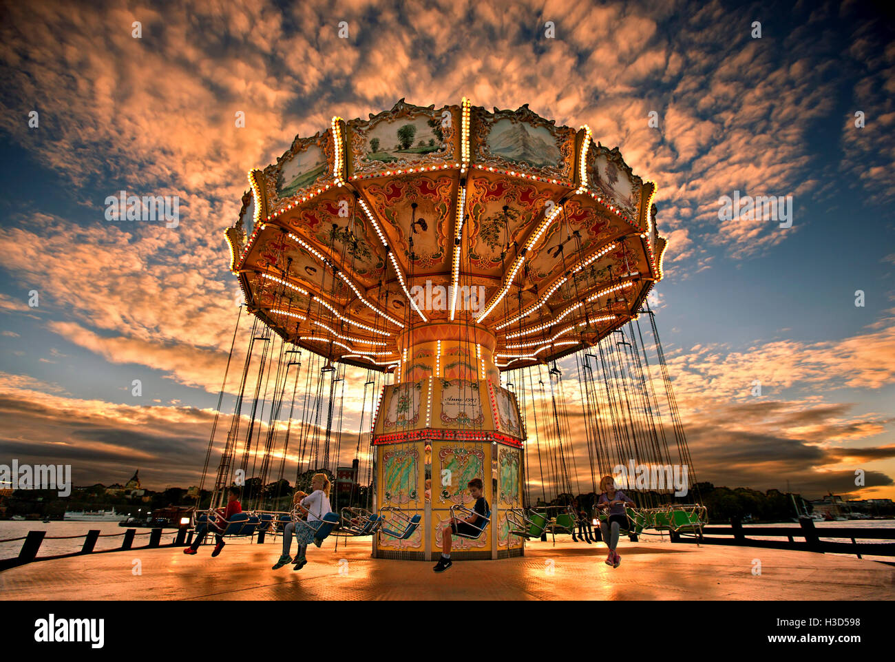 Tivoli Grona Lund (Luna Park) around sunset, Djurgarden, Stockholm, Sweden - Stock Image
