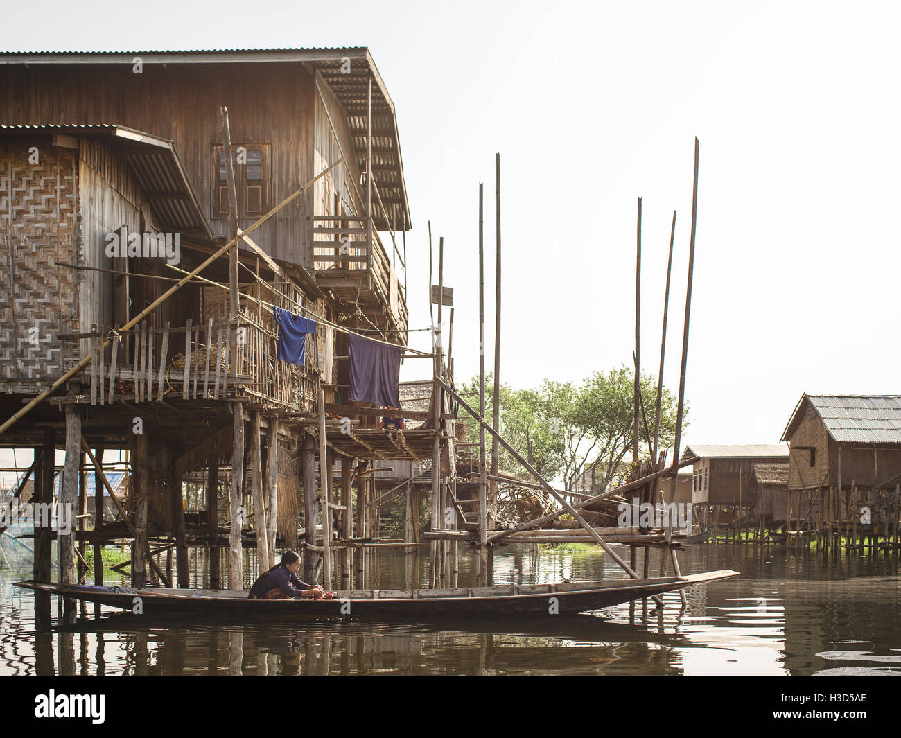 A fishing village in Inle Lake, Myanmar. This particular village is only accessible by boat, and every structure - Stock Image