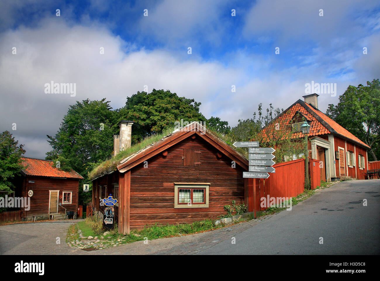 Traditional 'old' Swedish architecture in Skansen open air museum, Djurgarden island, Stockholm, Sweden - Stock Image