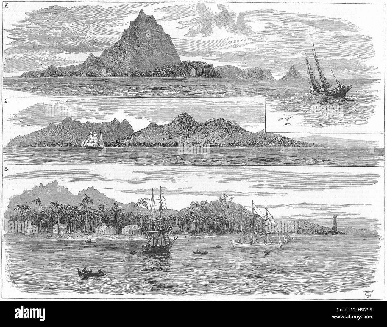 JAVA Volcanic Eruption-Krakatoa Anjer, completely destroyed; Sunda Straits 1883. The Illustrated London News - Stock Image