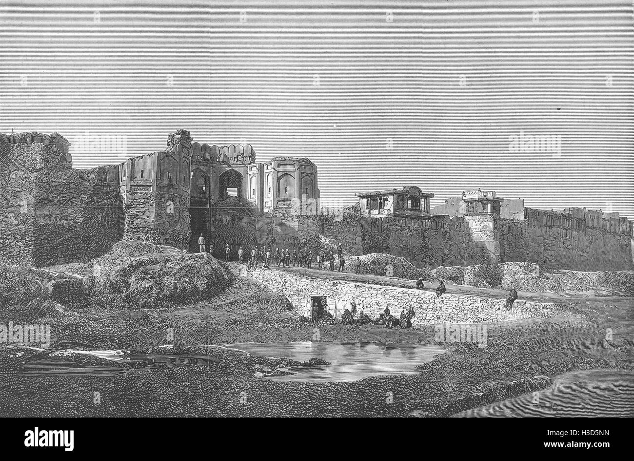 AFGHANISTAN Disaster in; Sha said Gate of Bala Hissar, Kabul 1880. The Graphic - Stock Image