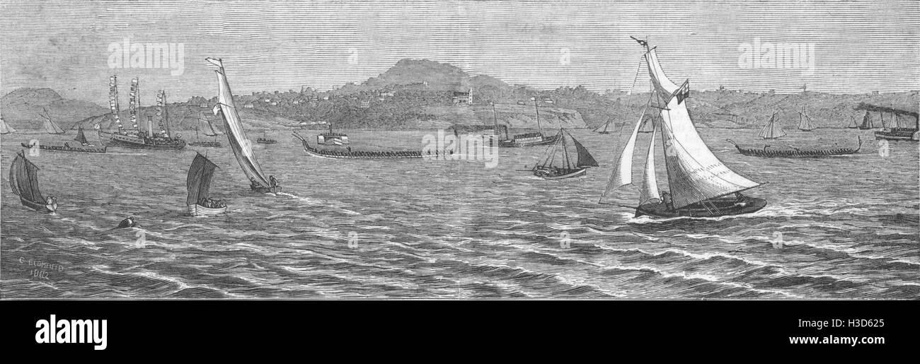 NEW ZEALAND North shore regatta, Auckland race between Maori war Canoes 1883. The Graphic - Stock Image