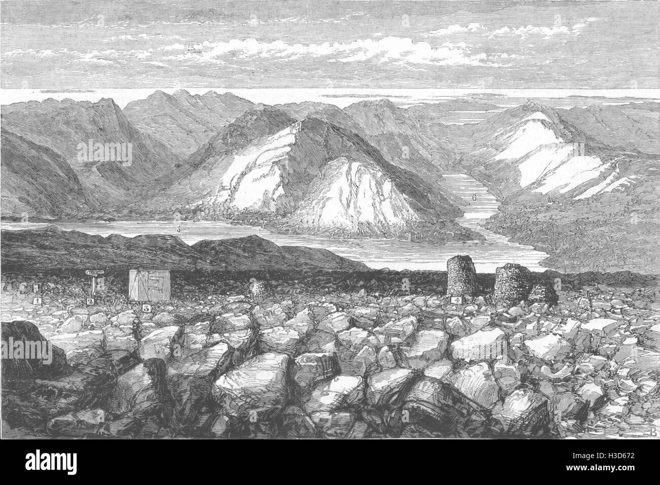 BEN NEVIS Meteorological observatory Summit Lochs Linnhe Eil 1881. The Graphic - Stock Image