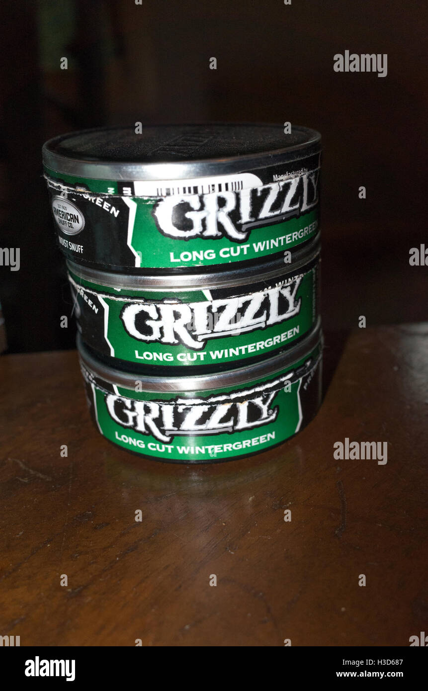 Handy stack of Grizzly chewing tobacco tins  Clitherall Minnesota MN