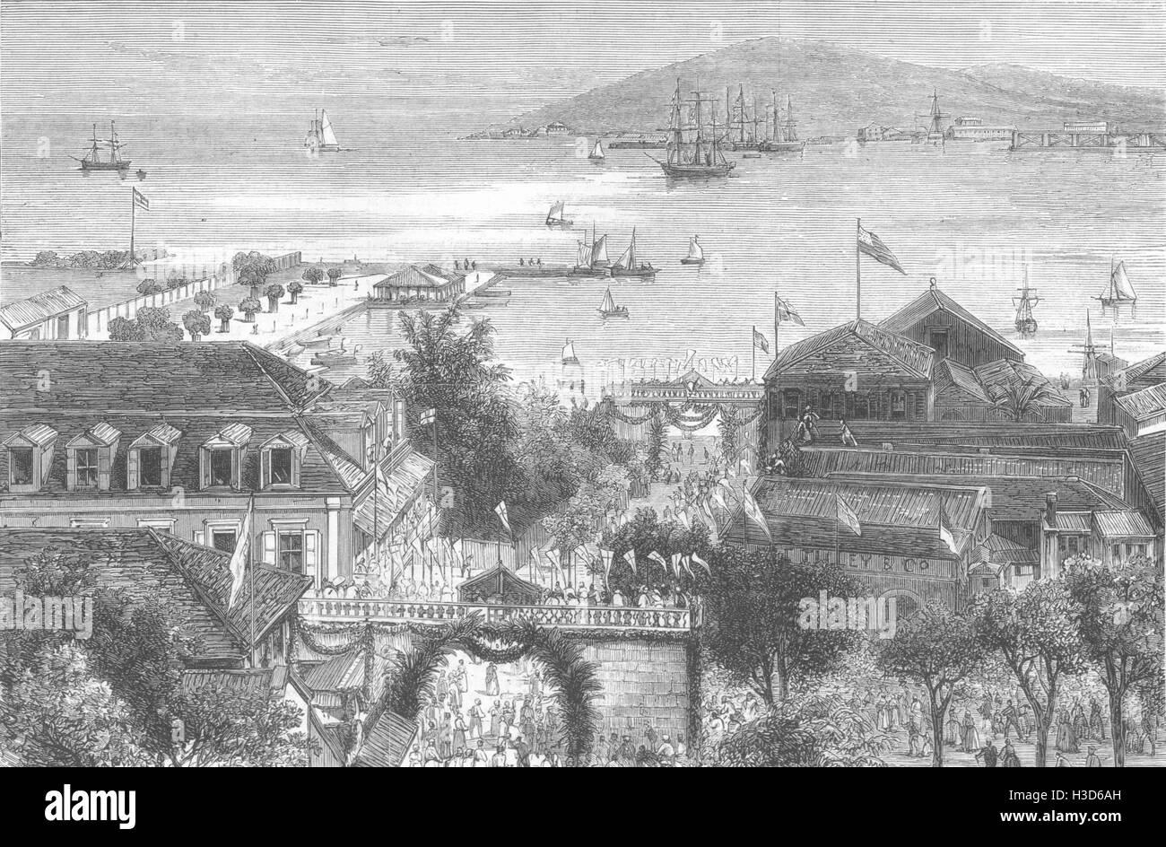 US VIRGIN ISLANDS Prince Waldemar's arival Charlotte Amalia, St Thomas 1879. The Graphic - Stock Image
