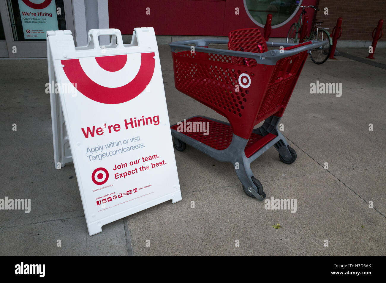Target A-Frame board advertising we're hiring. St Paul Minnesota MN USA - Stock Image