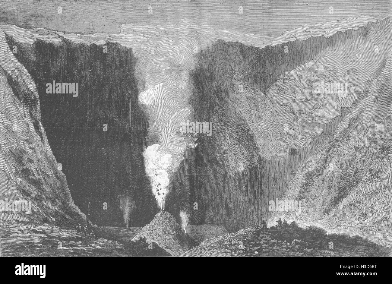 ITALY Eruption of Mount Vesuvius-Crater 21st Aug 1878. The Graphic - Stock Image