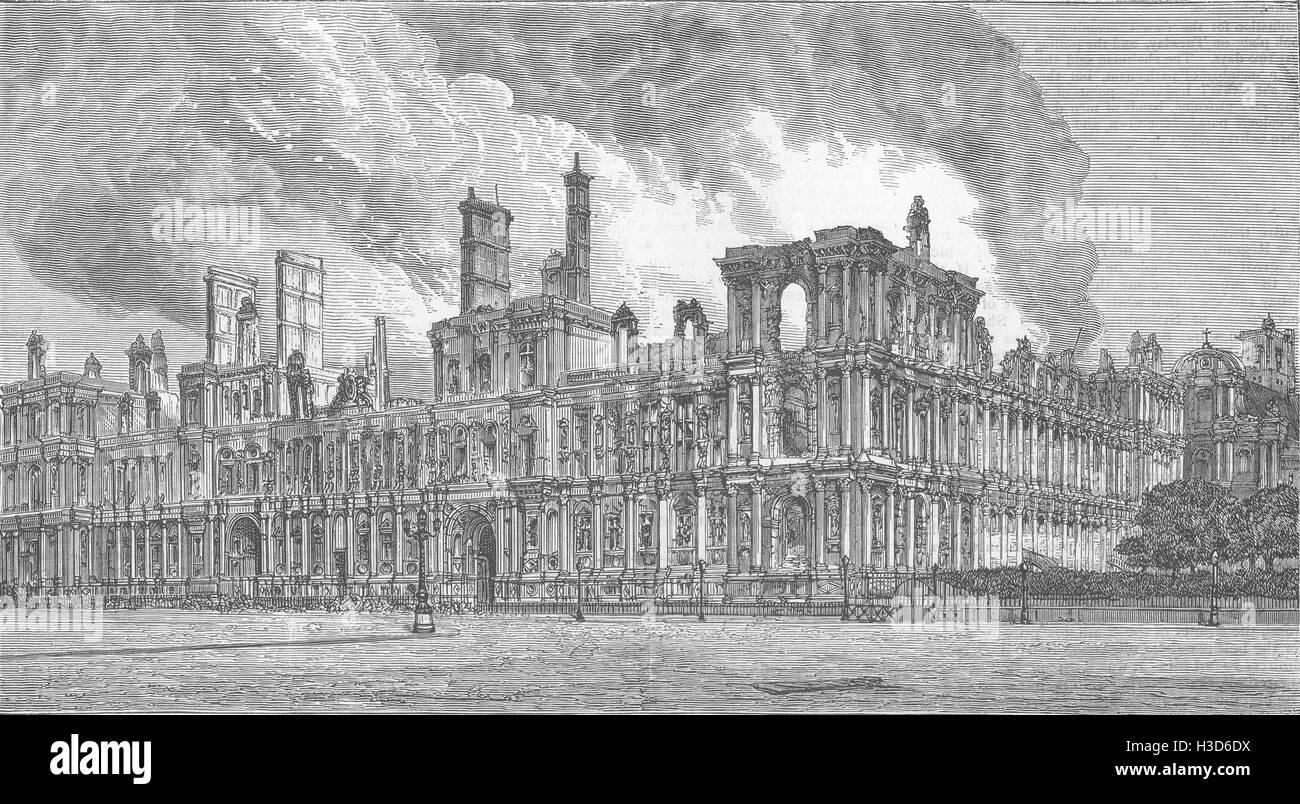 PARIS Hotel De Ville, destroyed by the Communists 1871. The Graphic - Stock Image