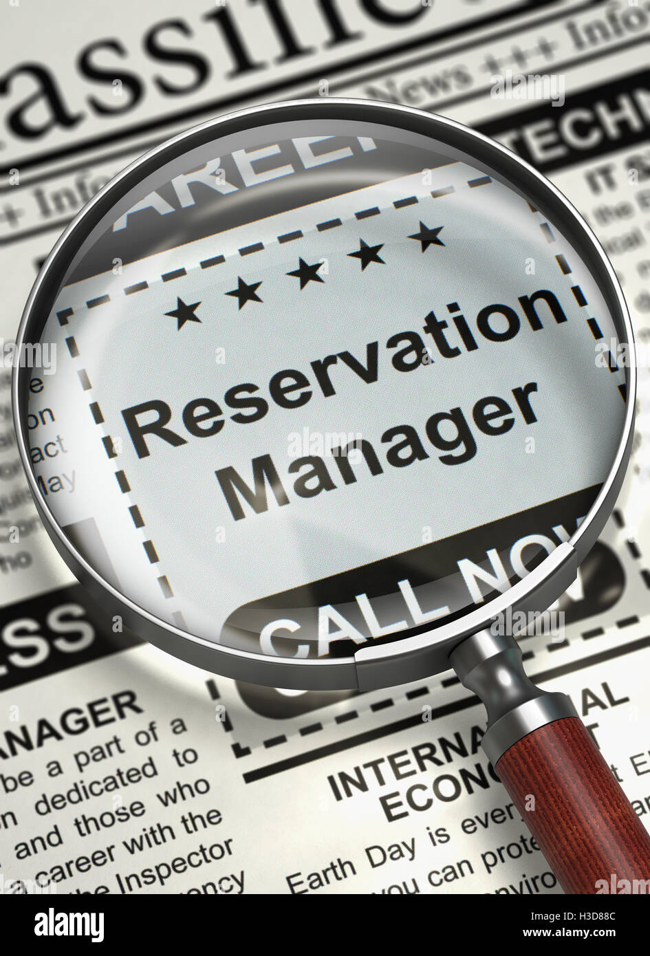 Reservation Manager Hiring Now. 3D. - Stock Image
