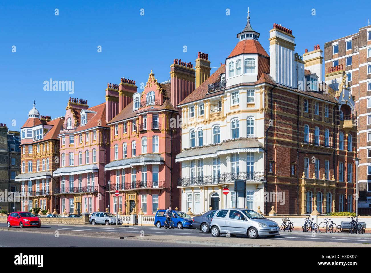 Late 19th century grade II listed houses in Kings Gardens, Hove, Brighton and Hove, East Sussex, England, UK. - Stock Image