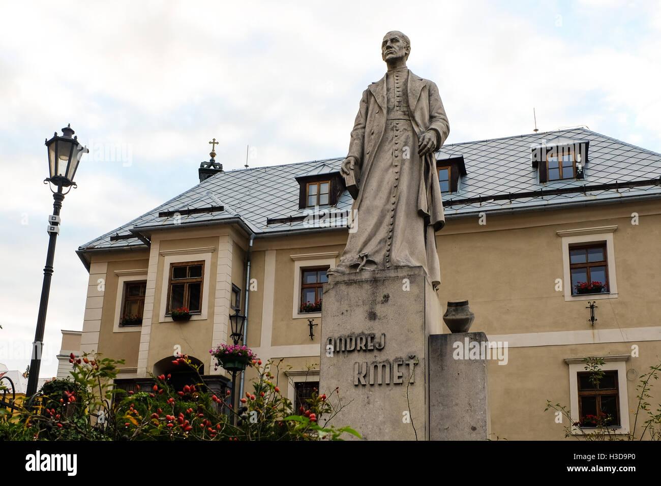 Andrej Kmet statue in Banska Stiavnica, Slovakia - Stock Image