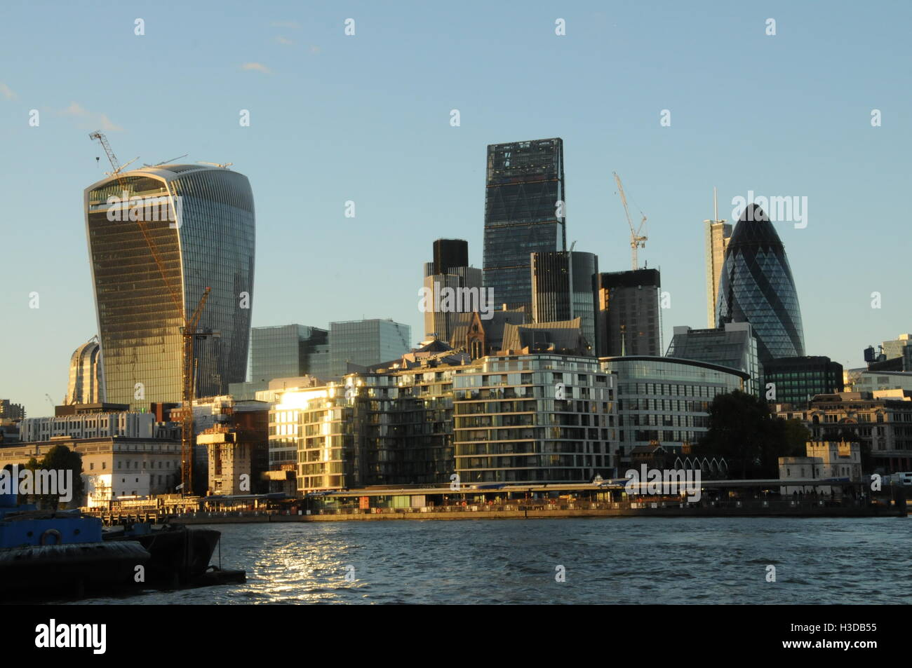 A view of The City, from Southwark, London. - Stock Image