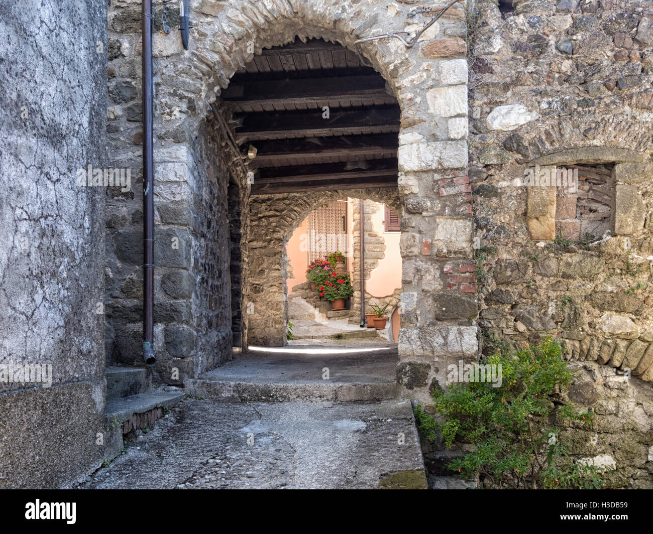 Bibola in north Tuscany. Typical village detail. Medieval. - Stock Image