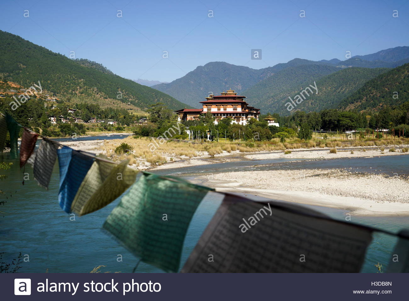 The Punakha Dzong, also known as Pungtang Dechen Photrang Dzong, meaning the palace of great happiness or bliss, - Stock Image
