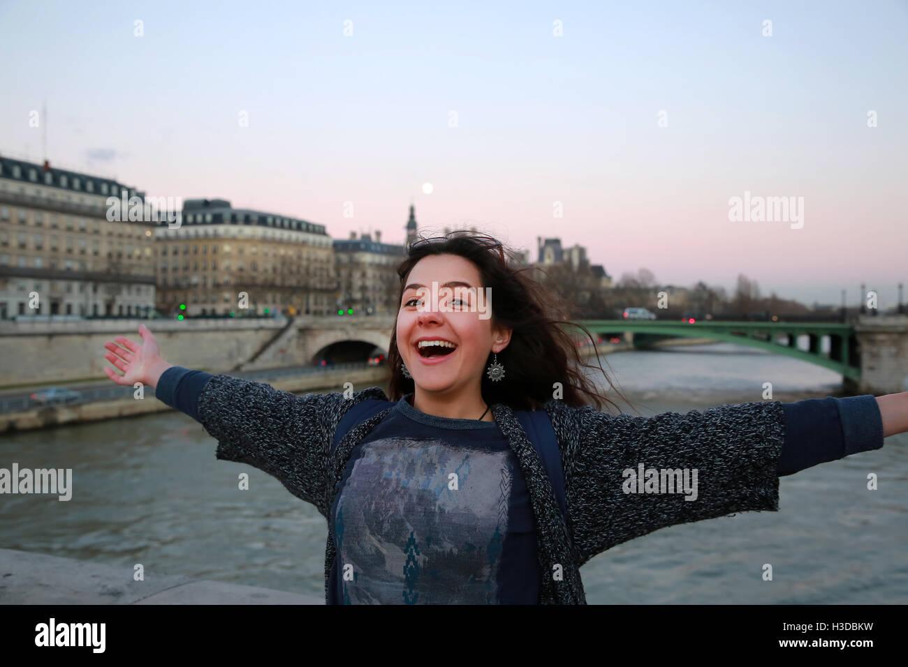Beautiful student girl have fun in Paris, France - Stock Image