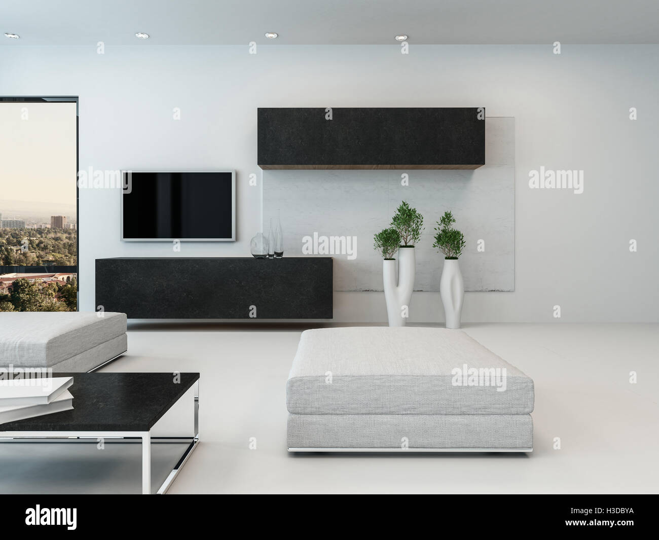 Contemporary White Living Room With Ottoman Wall Cabinets