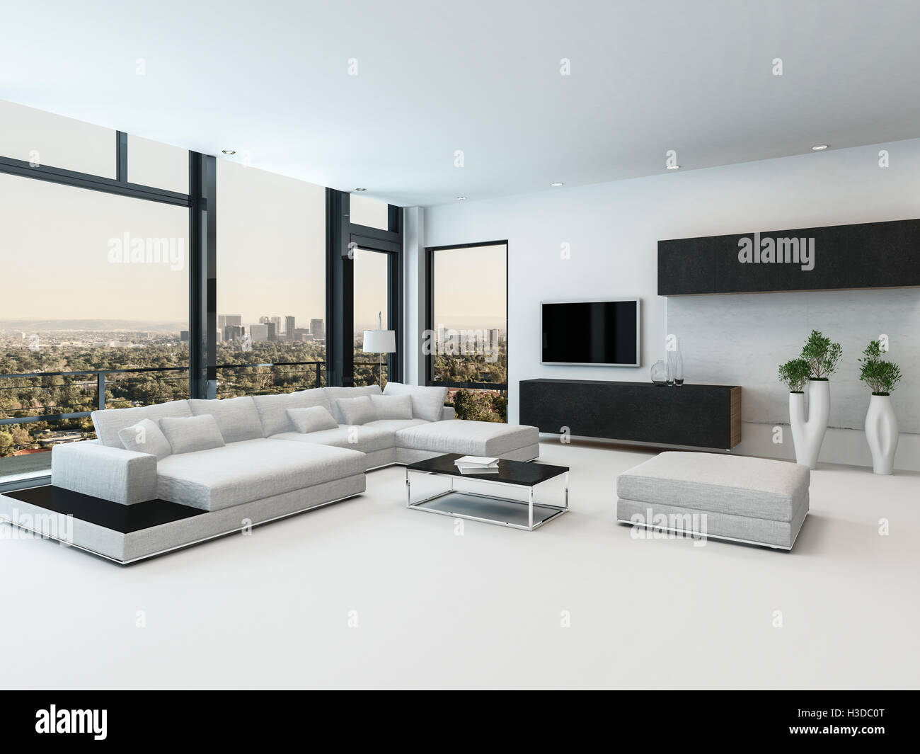 Stylish Modern Black And White Living Room Interior With A Stock Photo Alamy