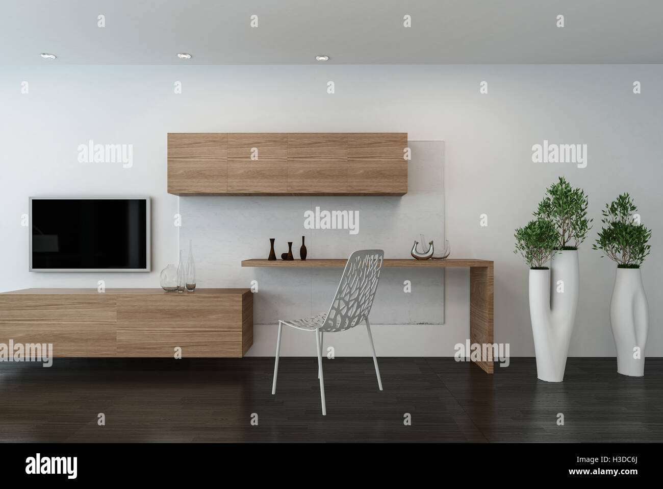 Hipster Wooden Writing Table And Chair With Wall Mounted Cabinets And  Television On A White Wall With Elegant Potted Plants In Tall Containers,  3d Rendering