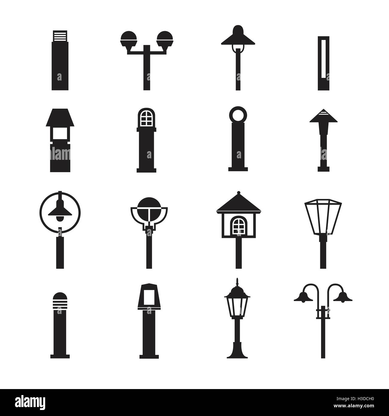 Landscape Lighting Icon: Street Lights And Outdoor Lamps Icon Set Stock Vector Art