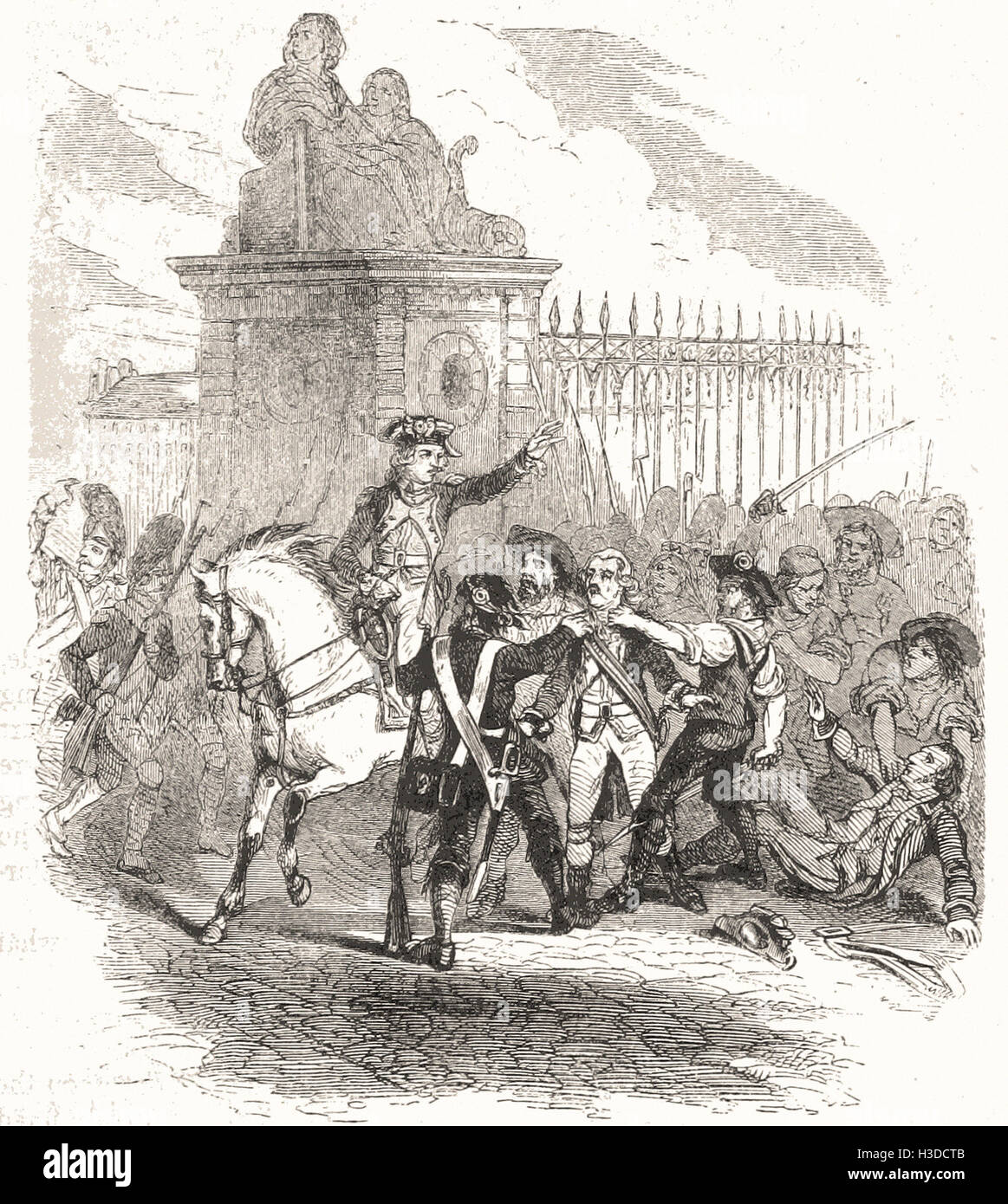 LA FAYETTE RESCUTNG THE GARDE DU CORPS, OCT. 6, 1789 - Stock Image