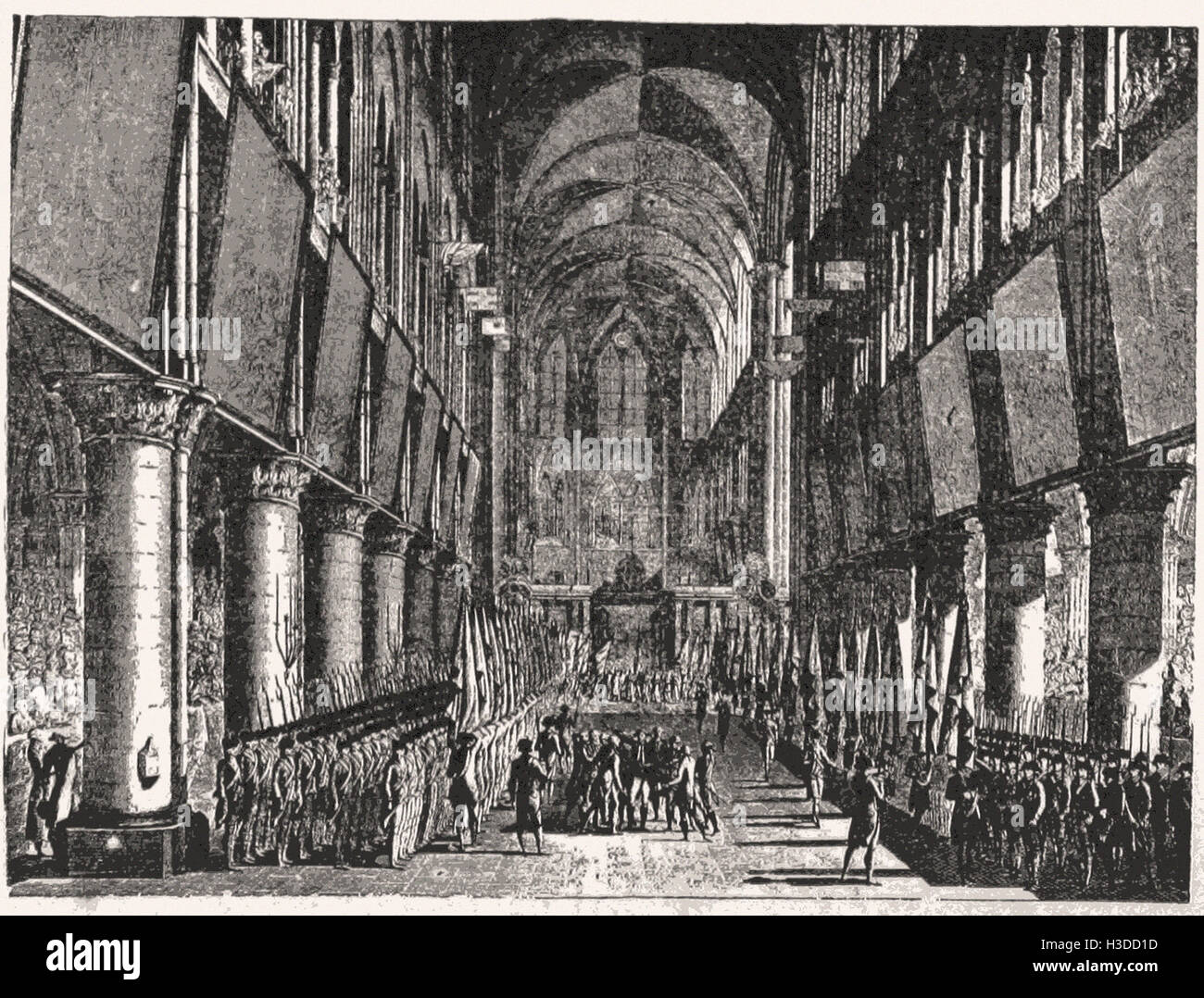 GRAND CEREMONIES AT NOTRE DAME IN PARIS—BLESSING THE STANDARDS OF THE NEW  NATIONAL GUARD, JULY, 1789. Stock Photo