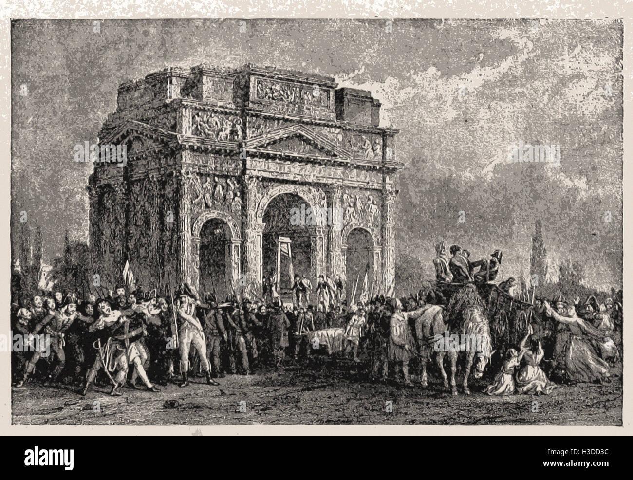EXECUTING ROYALISTS AT ORANGE, 1793 - Stock Image