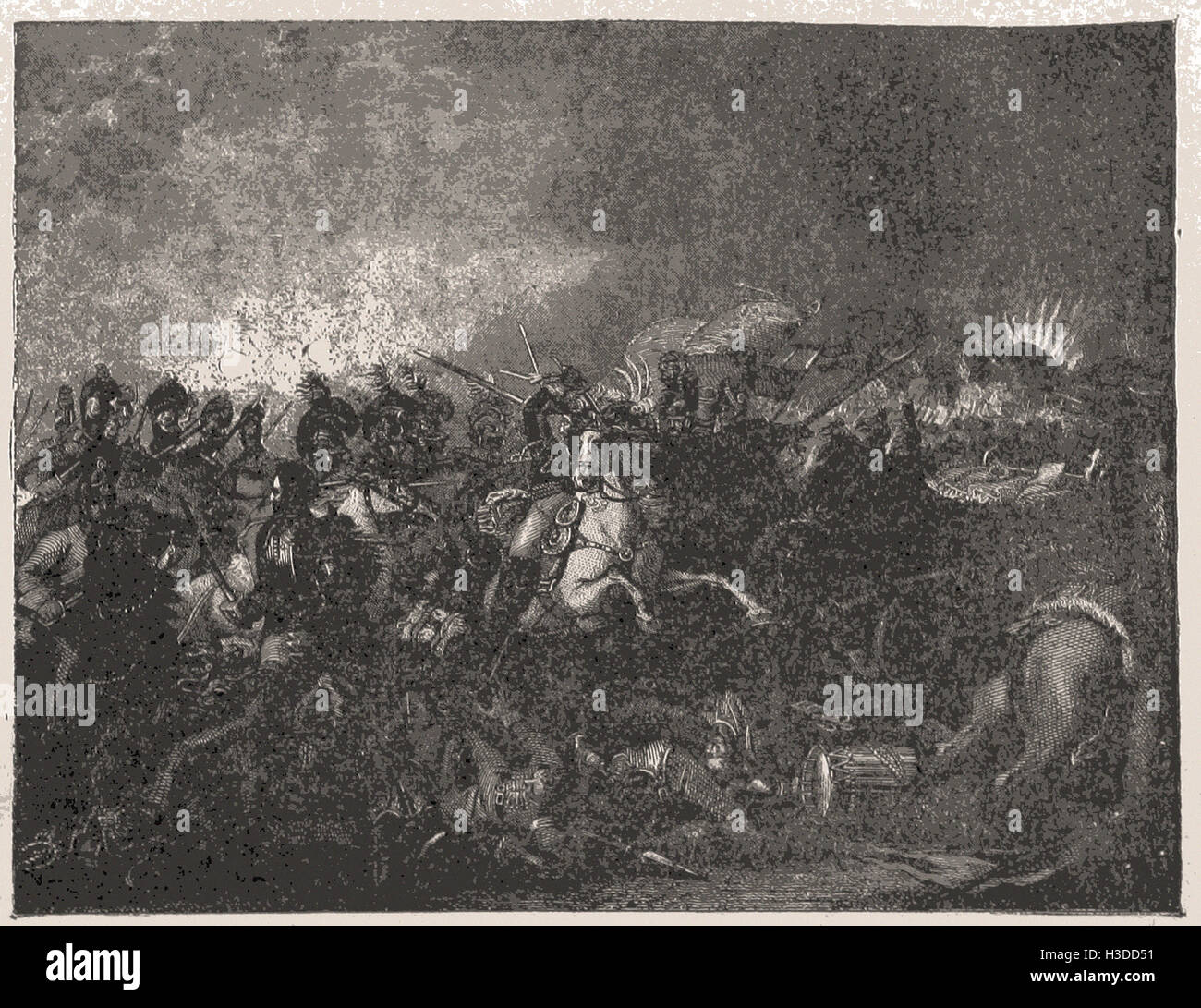 CHARGE OF THE BRIT1SH CAVALRY AT WATERLOO, JUNE 18, 1815 - Stock Image