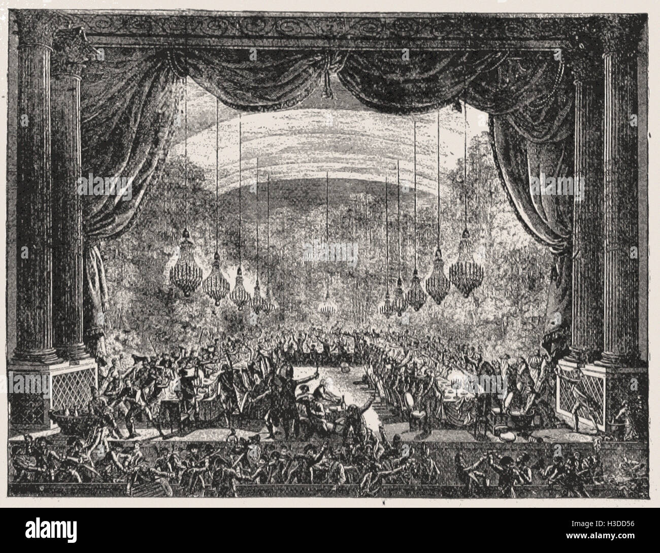 THE GARDE DU CORPS ENTERTAINING THE REGIMENT OF FLANDERS IN THE ORANGERY AT  VERSAILLES, OCTOBER 3, 1789 - Stock Image
