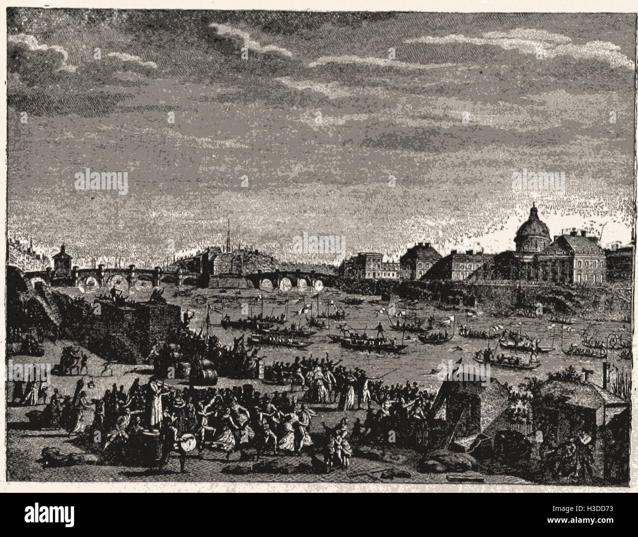 FESTIVITIES UPON THE RIVER SEINE, EVENING, JULY 14, 1790 - Stock Image