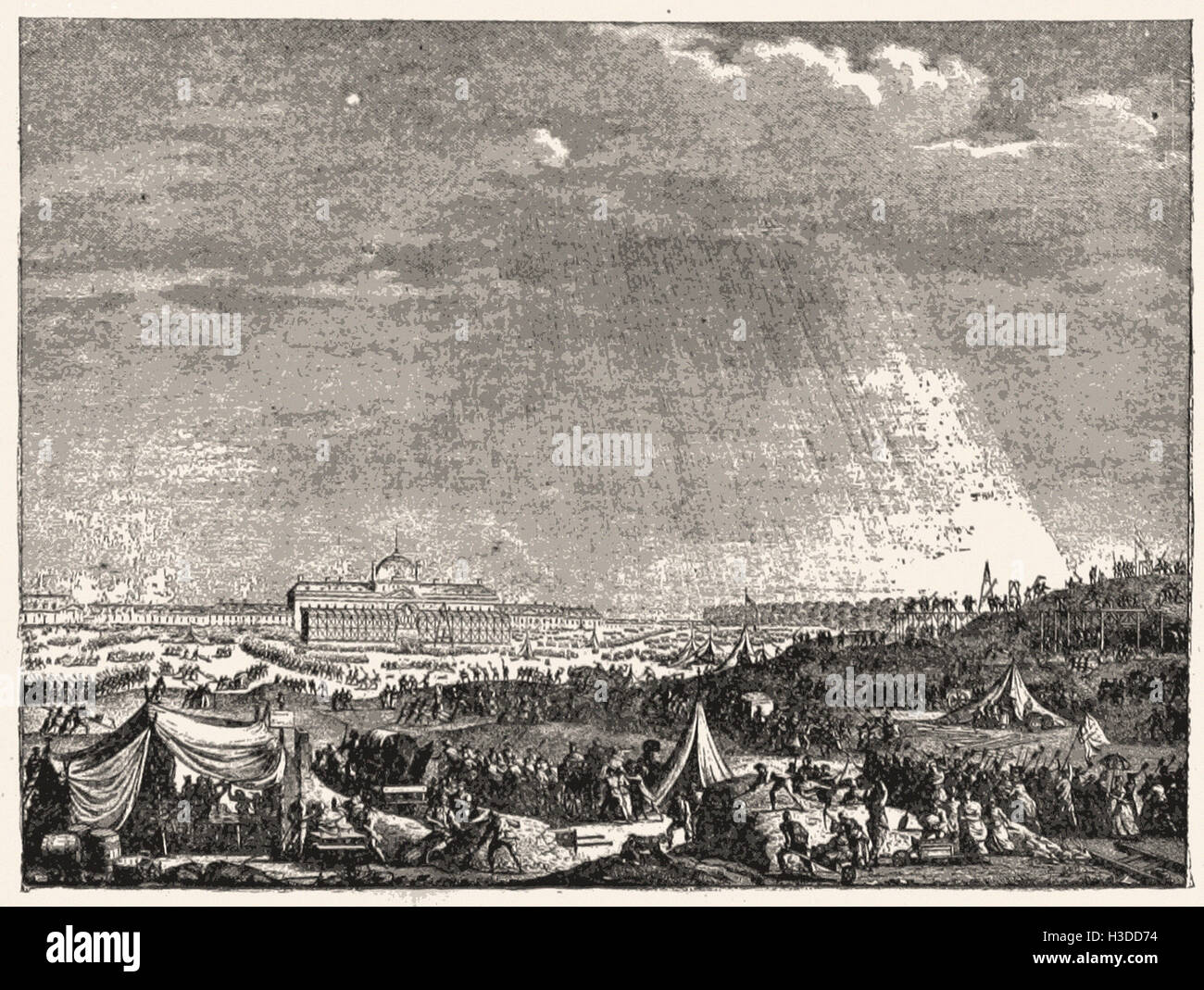 ALL CLASSES PREPARING THE CHAMP DE MARS FOR THE FEDERATION FESTIVALS AND CEREMONIES  OF JULY 14, 1790 - Stock Image