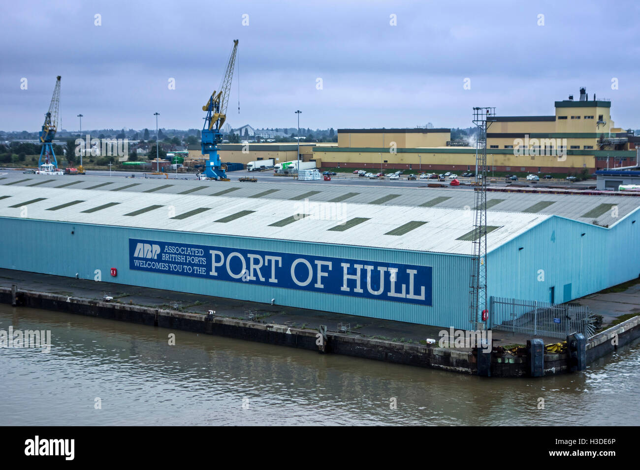 Sign on hangar of the Associated British Ports / ABP in the port of Hull at Kingston upon Hull, England, UK Stock Photo