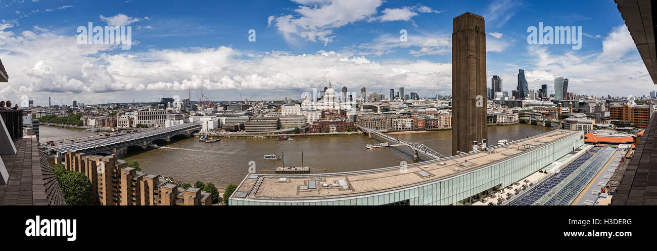 Panoramic view of London from the Switch House at the Tate Modern Art Gallery. - Stock Image