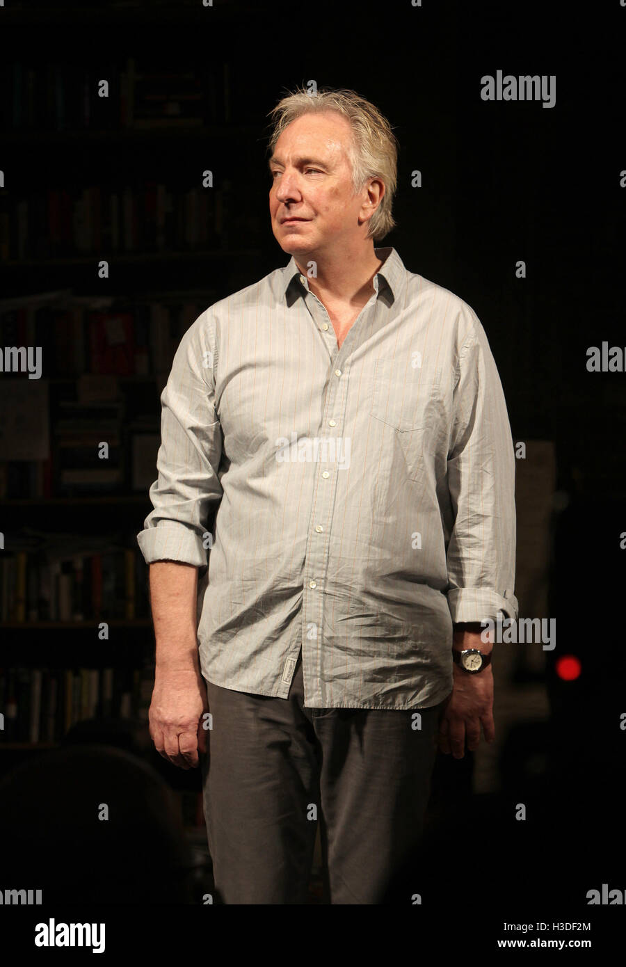 Alan Rickman during the Broadway Opening Night Performance Curtain Call for 'Seminar' at the Golden Theatre - Stock Image