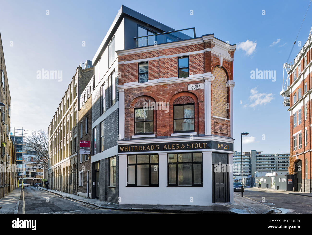 Conversion of old London public house to luxury apartments - Stock Image