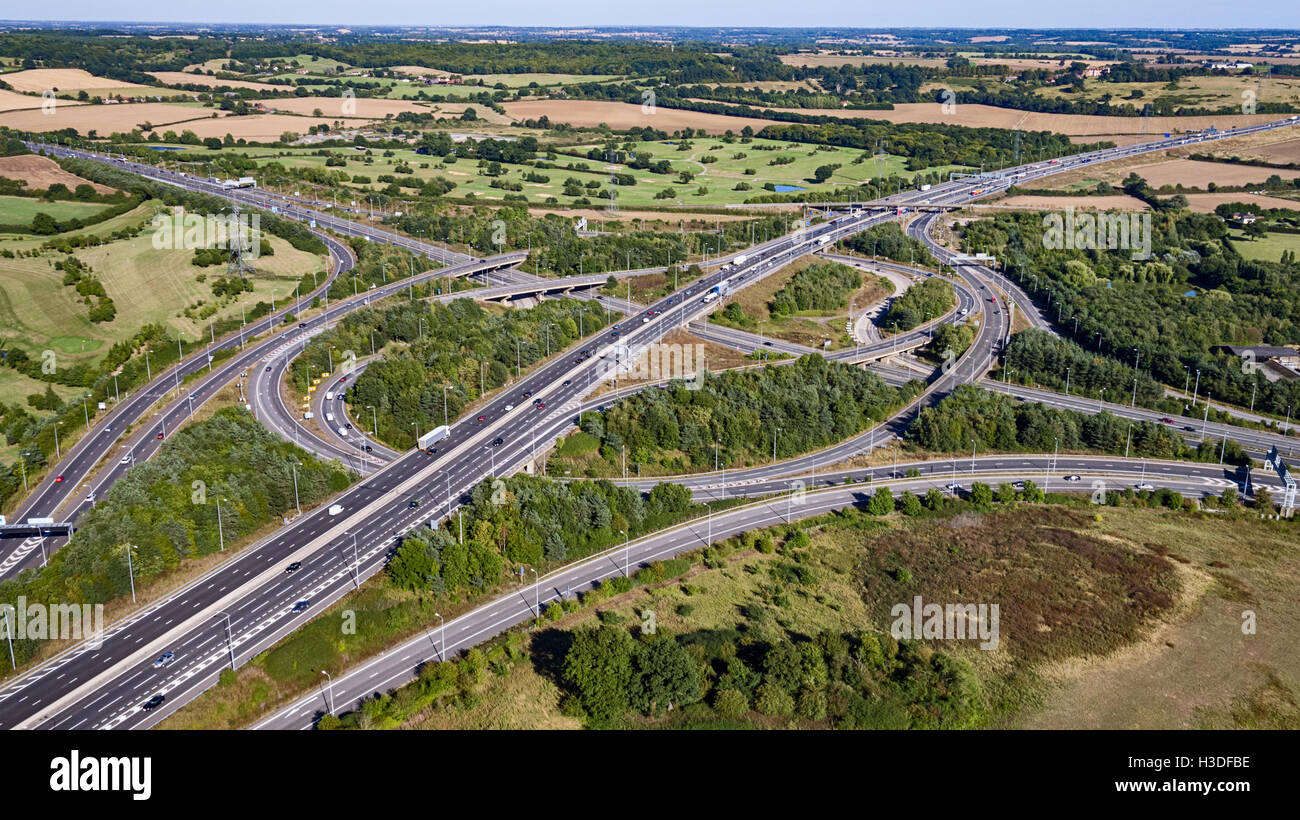 Intersection of the M25 and M11 motorways - Stock Image