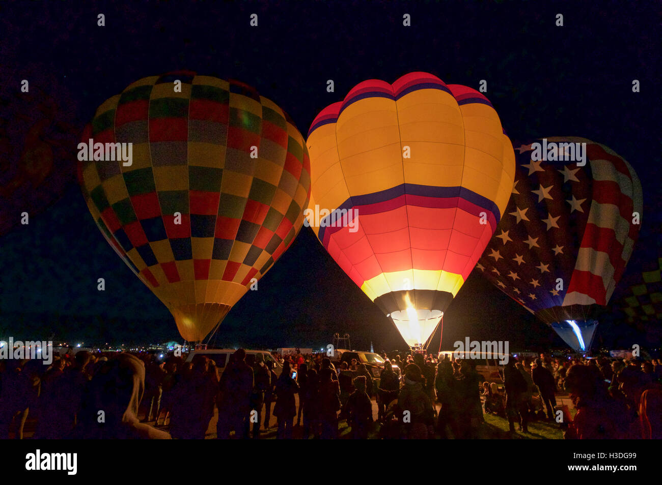 Hot Air Balloons Prepare To Go Into The Sky At Dawn Albuquerque International Balloon Fiesta In New Mexico October 2016