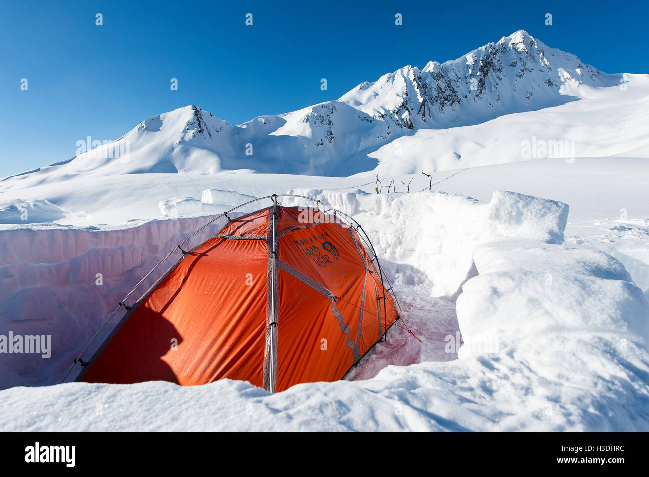 Snowboard expedition base camp in Canada - Stock Image
