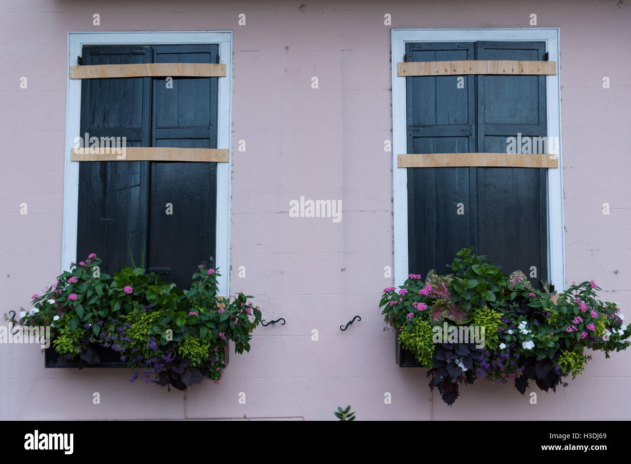 Charleston, South Carolina. 5th October, 2016. Boarded up shutters on a historic home along Rainbow Row in preparation - Stock Image