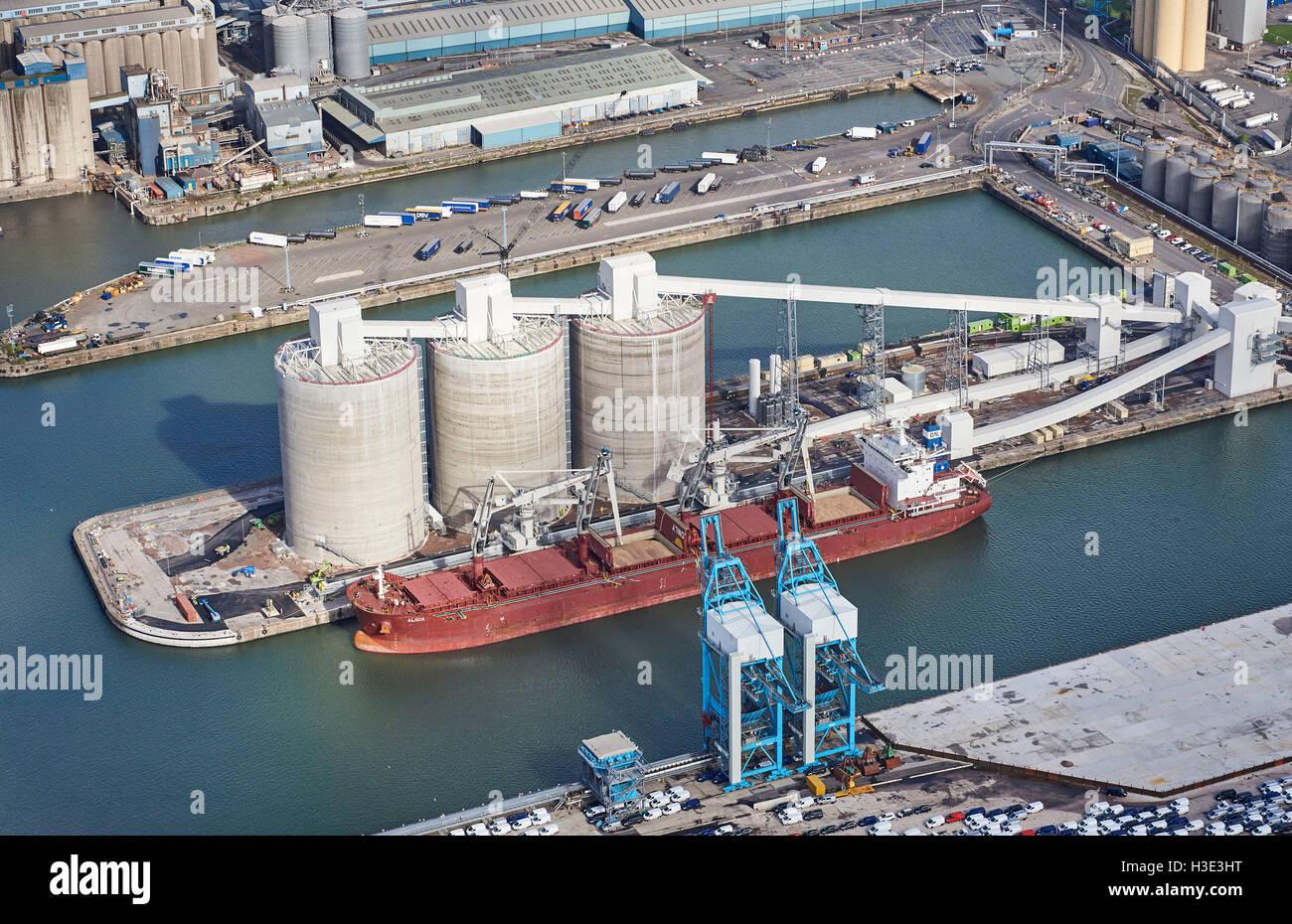 Biomass import facility, Seaforth Docks, Liverpool, NW England - Stock Image