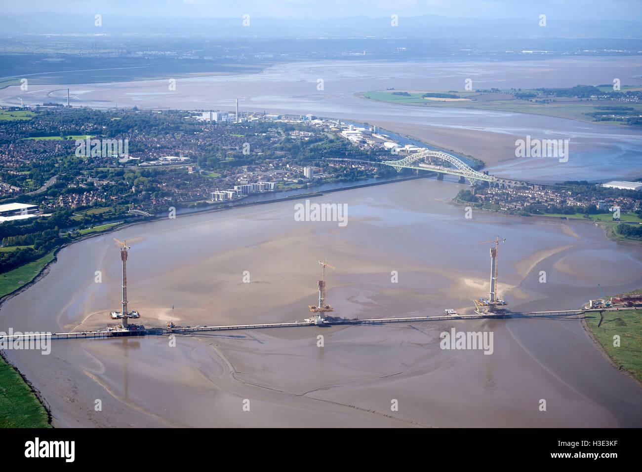 An aerial view of the new River Mersey Crossing at Runcorn, Merseyside, NorthWest England - Stock Image