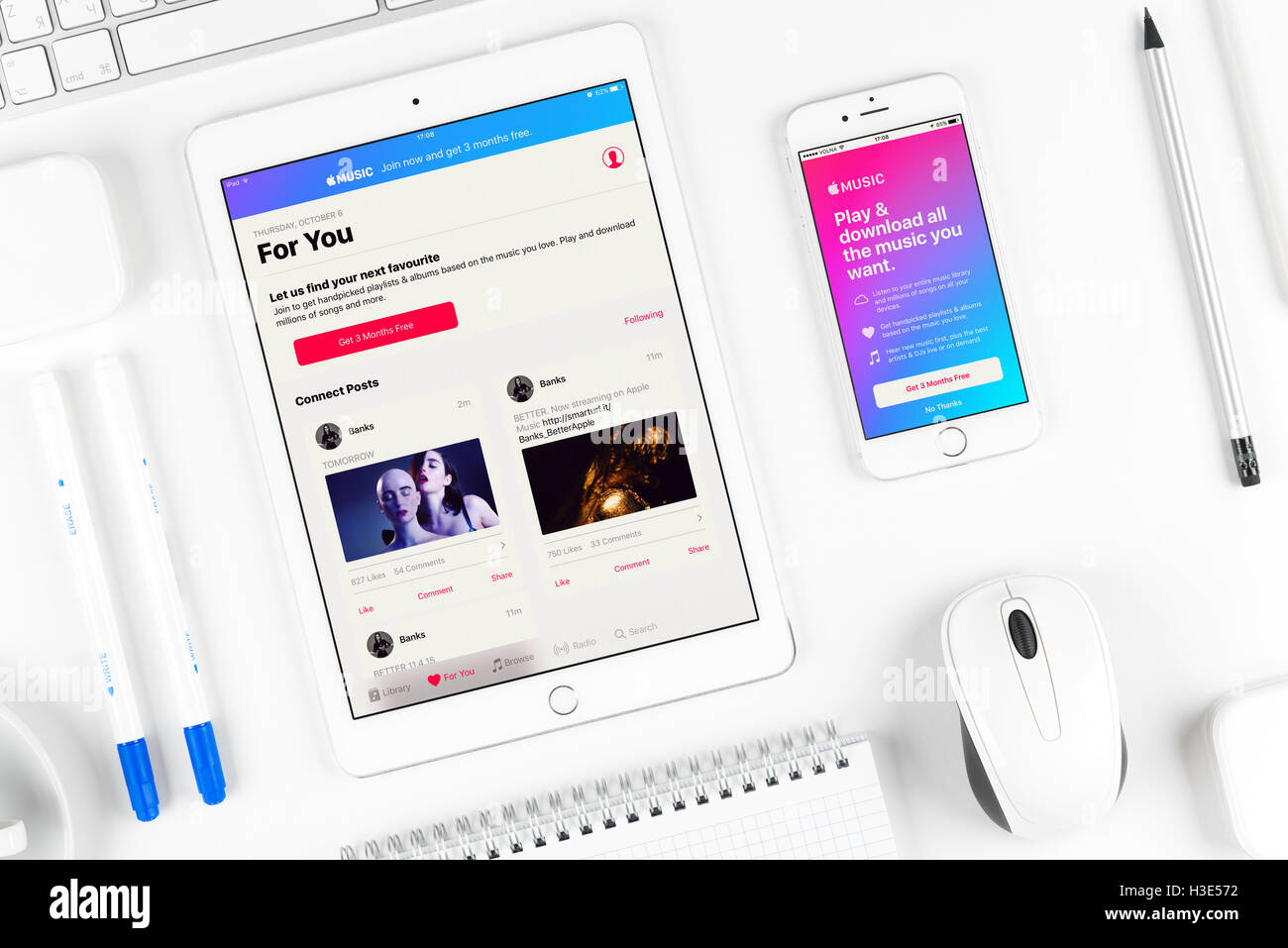 Apple music application on the display of iphone and ipad Stock Photo