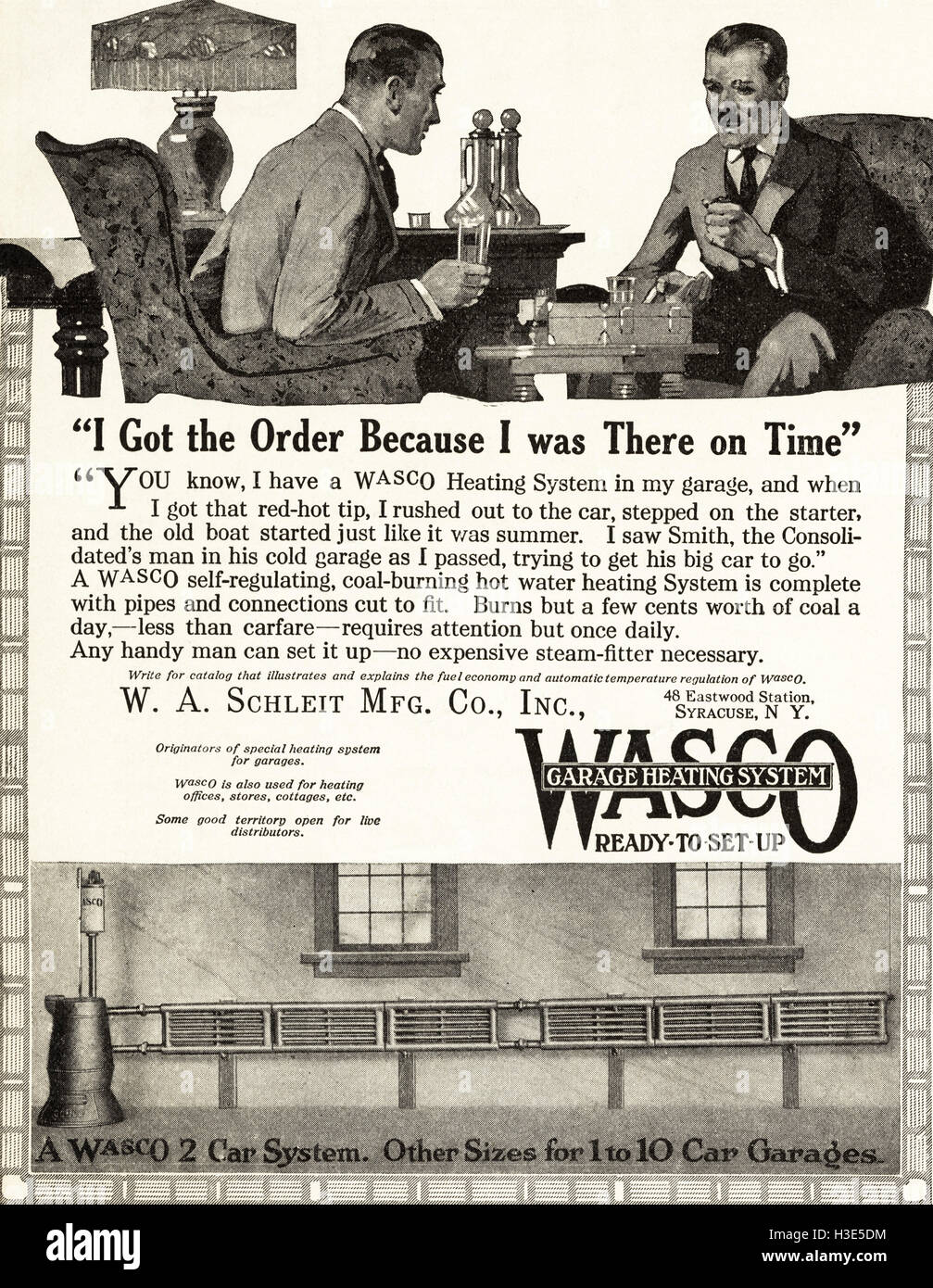1920 Advert From Original Old Vintage American Magazine 1920s Advertisement Advertising Wasco Garage Heating Systems